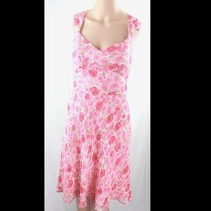 100% SILK Ann Taylor Floral red dress.New. Size 4
